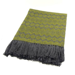 Peruvian Alpaca Blend Throw Blanket - Moss and Gray