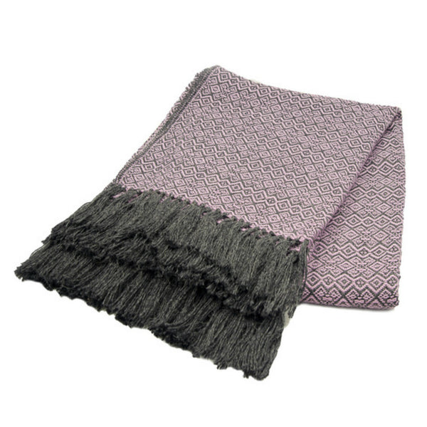 Peruvian Alpaca Blend Throw Blanket -Lilac and Gray