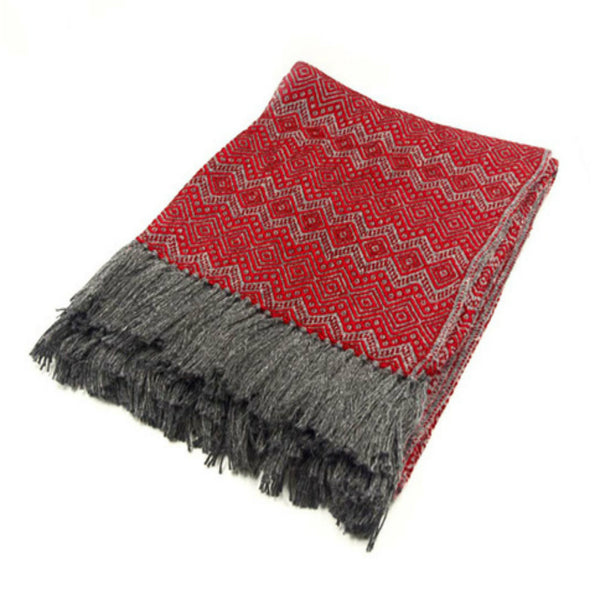 Peruvian Alpaca Blend Throw Blanket - Electric Red