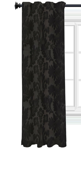 "Black Damask Soft Top Curtain Single Panel 50""Wx84""L"
