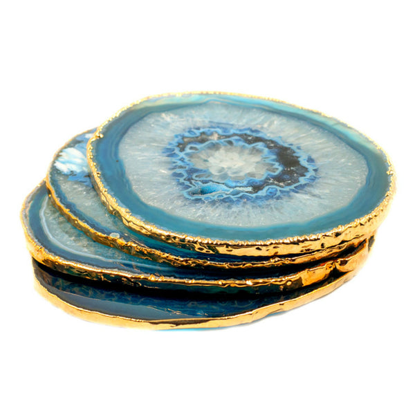 Gold Plated Brazilian Agate Coaster Set of 4 - Blue