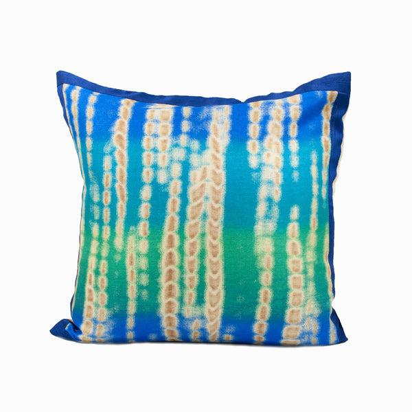 Blue and Green Batik Throw Pillow Cover