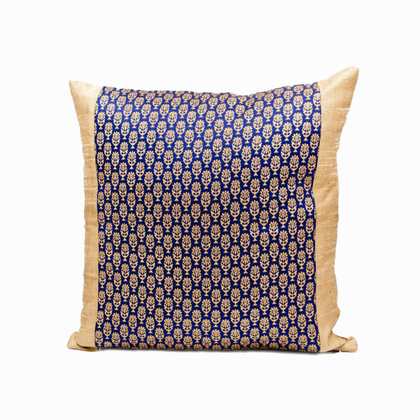 Handcrafted Blue Silk Brocade Throw Pillow Cover