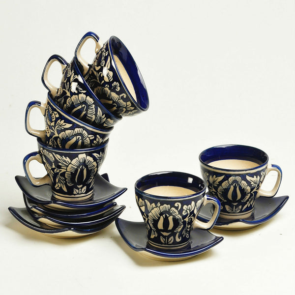Hand-painted Blue and White Tea Cup and Saucer set for 6