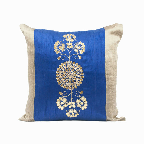 Blue Silk Embroidered Throw Pillow Cover
