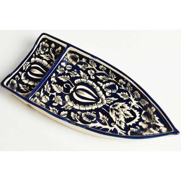 Hand-painted Blue and White Boat Platter