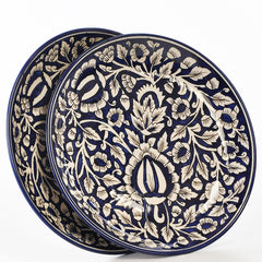 Floral Hand Painted Blue and White Dinner Plates
