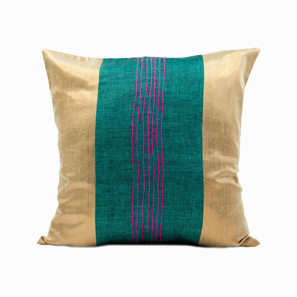 Green and Copper Throw Pillow Cover