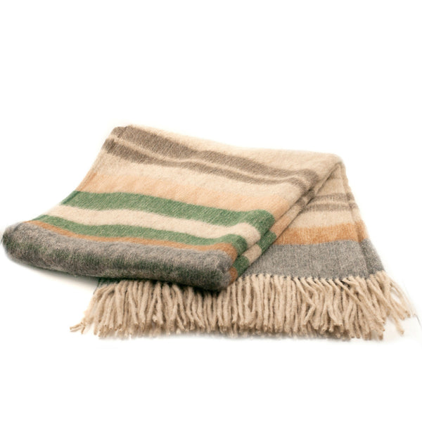 Peruvian Alpaca Throw Blanket - Green Wood