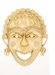 Ethnic Dhokra Mask Wall Hanging - Happy Face