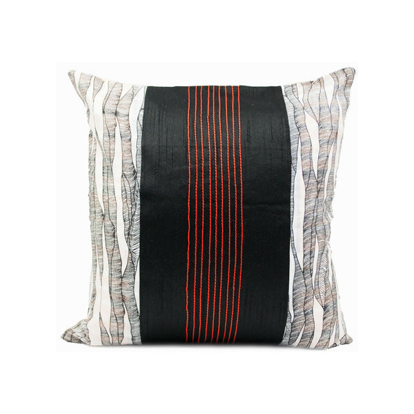 Black and White Jute Silk Throw Pillow Cover