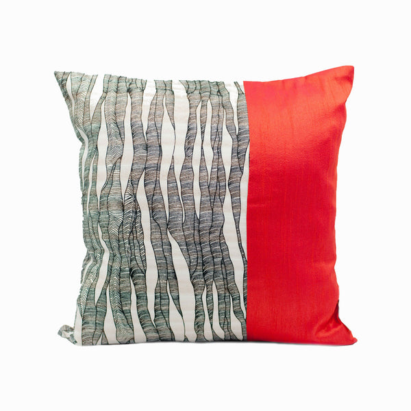 Red and Black Jute Silk Throw Pillow Cover