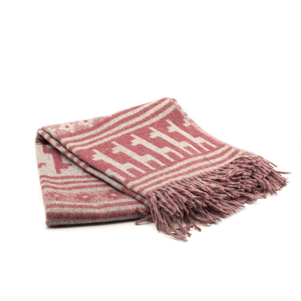 Peruvian Alpaca Throw Blanket - Llamitas Red