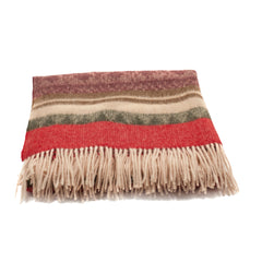 Alpaca Throw Blanket Brown Red Beige