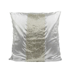 Silver Crystal Beaded Throw Pillow Cover