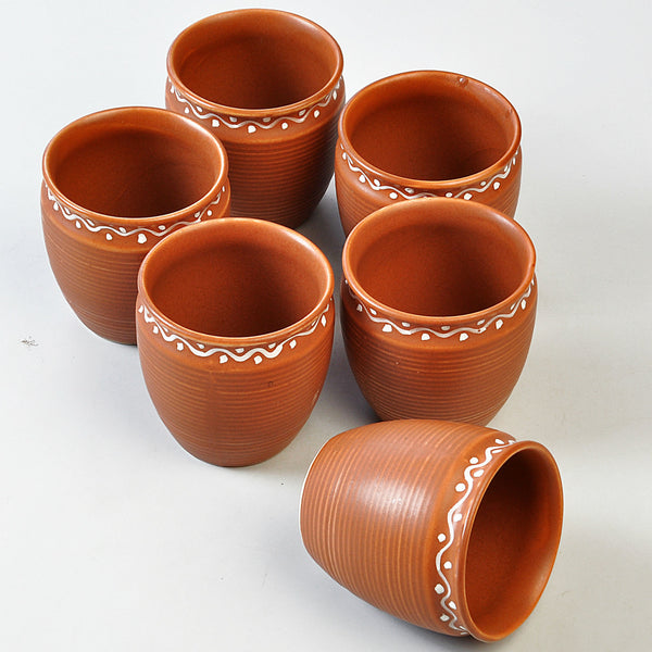 Handmade Terracotta Tea Cups - set of 6