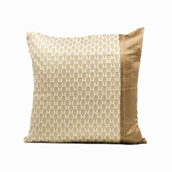 Handcrafted White Silk Brocade Throw Pillow Cover