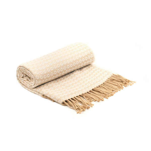 Peruvian Alpaca Blend Throw Blanket - White Sands