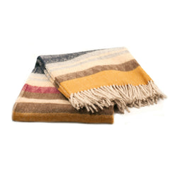 Alpaca Throw Blanket Yellow Red Brown Black