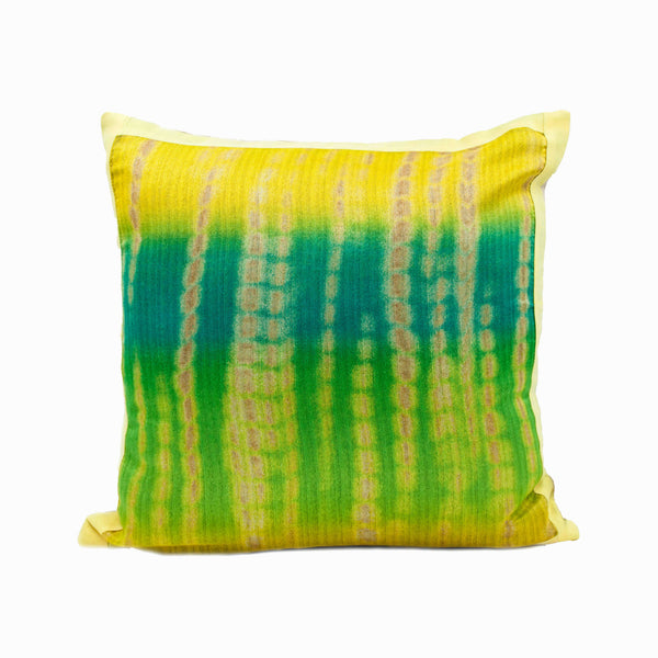 Green and Yellow Batik Throw Pillow Cover