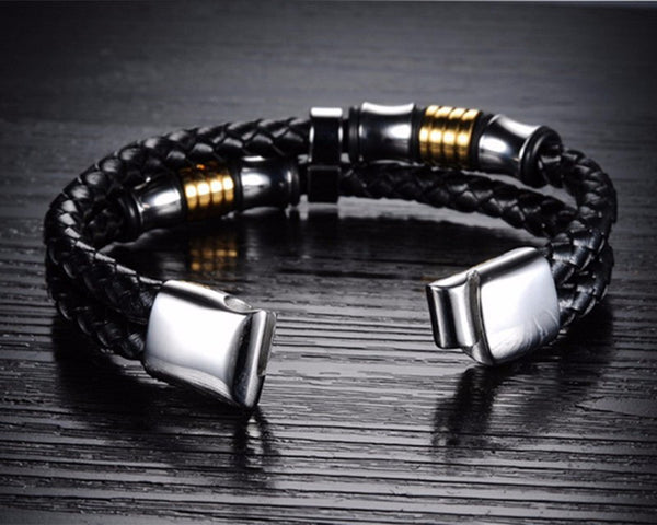 Grant Hathaway Stainless Steel & Titanium Genuine Leather Bracelets