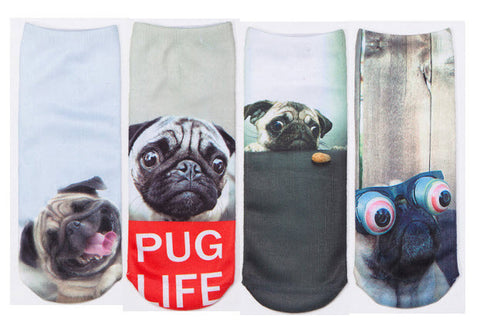 Pug Life Sock Bundle - 4 Pack