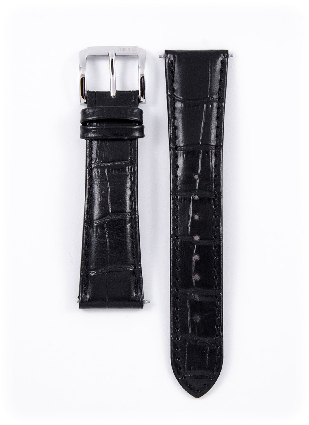Genuine Black Leather Strap 20mm