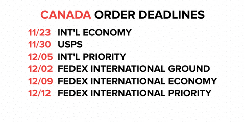 Holiday Deadlines Canada