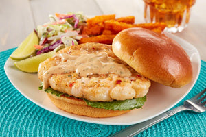 Shrimp - Coach Joe's Shrimp Burger: Wild Chemical Free Gulf Shrimp -- (20) 4oz Burgers Per Box