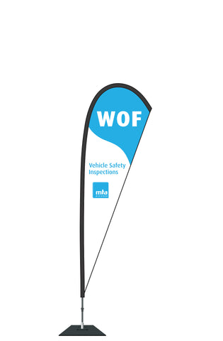 WOF TearDrop Banner - Large. 3.5m   Not a stock item, please contact us.
