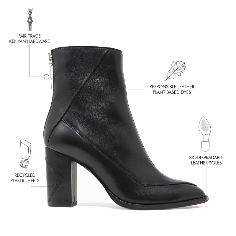 Sustainable material and components breakdown of the black Almasi boot by Sylven New York.
