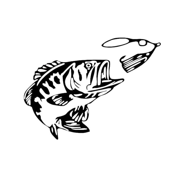 Bass fishing vinyl decal bass club free snake look for Free fishing stickers