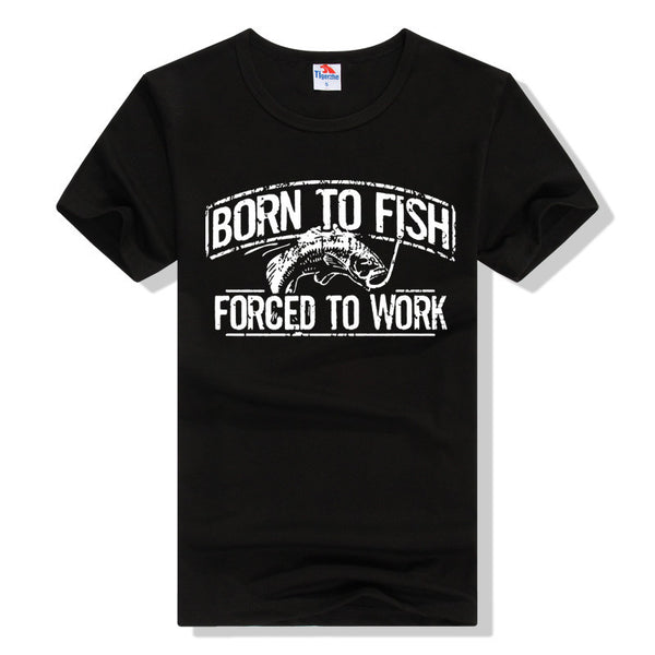 "Black Fishing T-Shirt - ""Born to Fish, Forced to Work"""