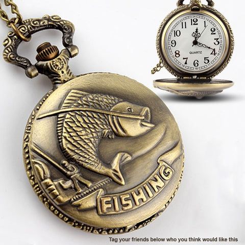 Rustic Fishing Pocket Watch