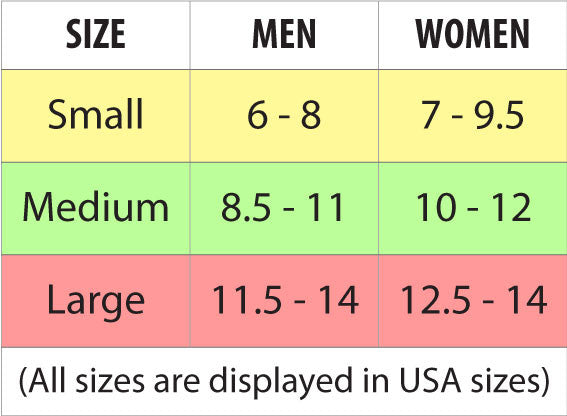 Waterproof Socks Sizing Chart