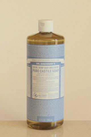 Dr Bronner's castile soap - Unscented - 946mL
