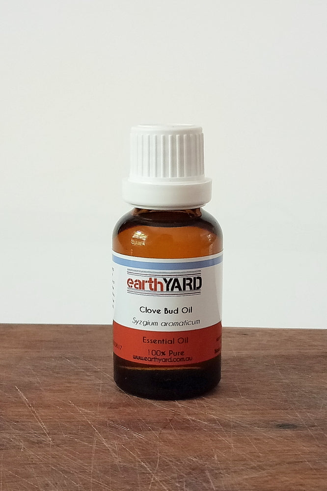 Clove bud oil in 25mL brown glass bottle