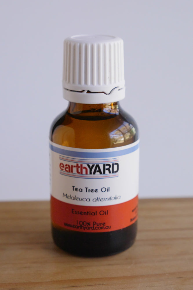 Tea tree oil in 25mL brown glass bottle