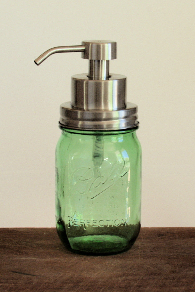 Green mason jar with stainless steel foaming soap pump - front view