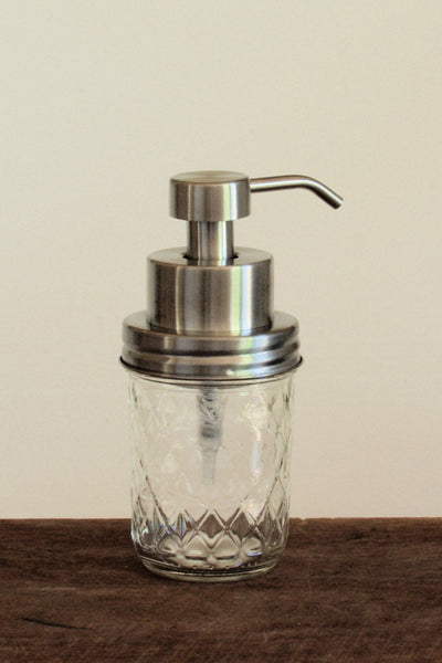 Quilted clear mason jar with stainless steel foaming soap pump - back view