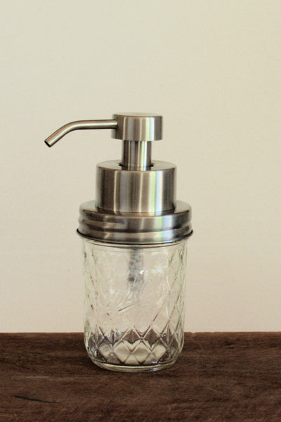 Quilted clear mason jar with stainless steel foaming soap pump - front view