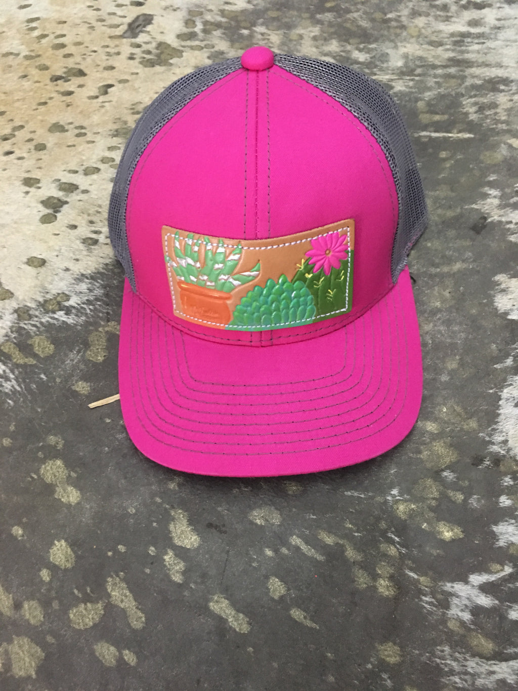 Pink Cactus Leather Cap