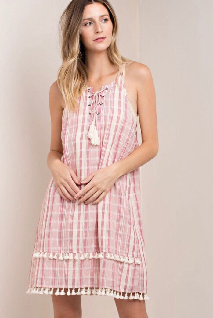 Pink Plaid Tank Dress