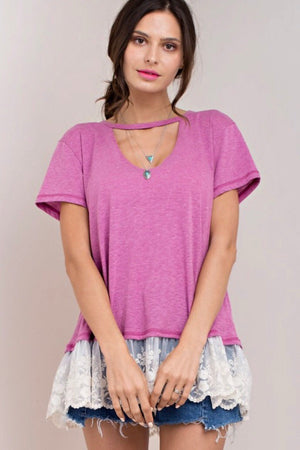 V Neck Lace Bottom Tees
