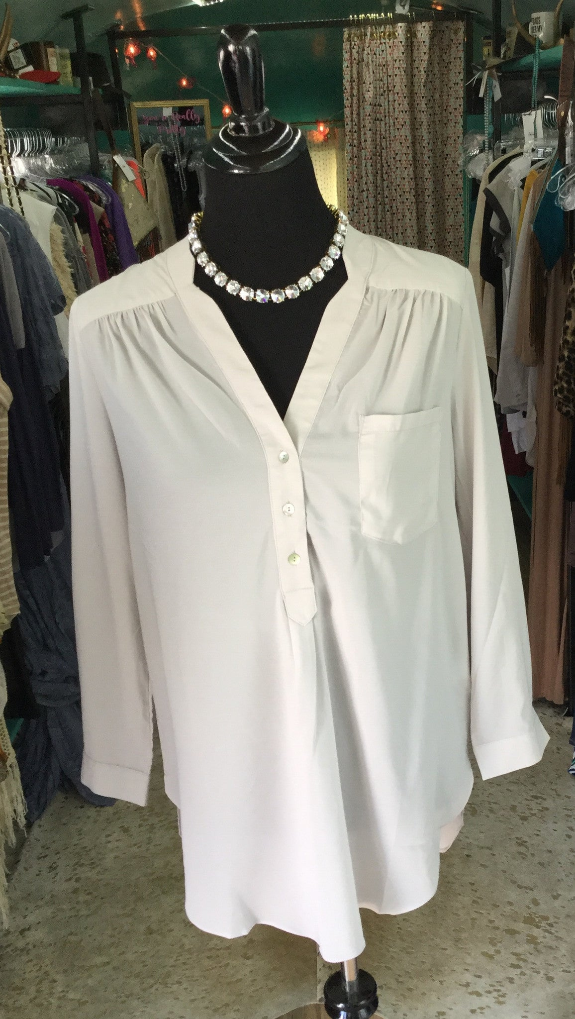 Silver Rolled Sleeve Blouse