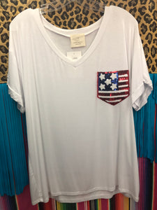 Glitter Flag Pocket tee