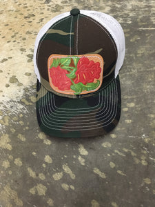 Camo Rose Leather Cap