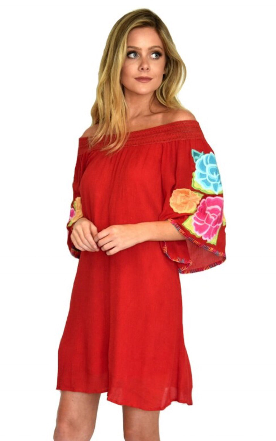Red Off The Shoulder Embroidered Dress