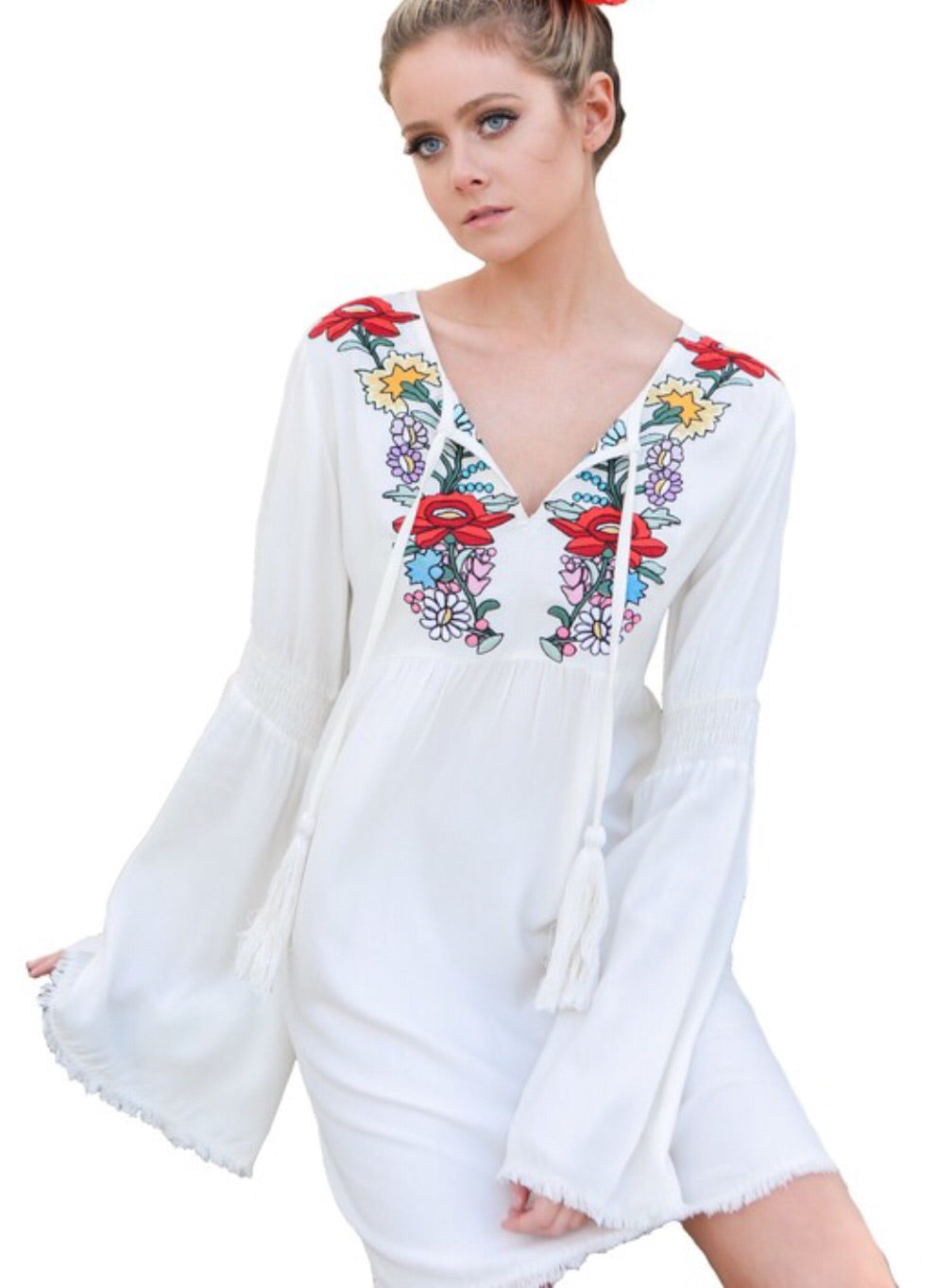 Off White Embroidered Bell Sleeve Dress