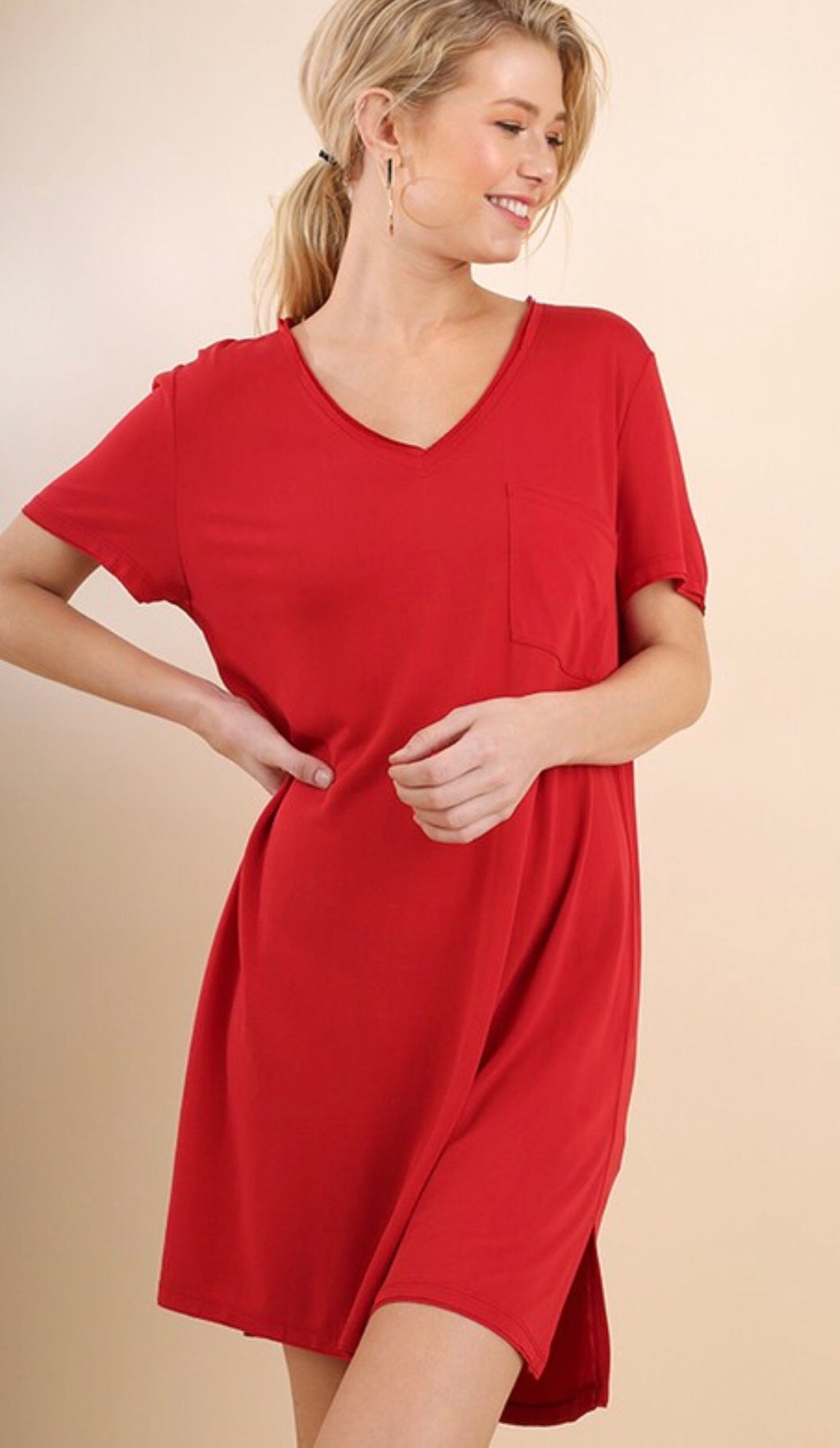 Red V-Neck T-Shirt Dress